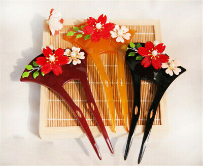 Acrylic Yellow Japanese Hairpin Kanzashi Flower Pattern for Kimono Geisha Bride