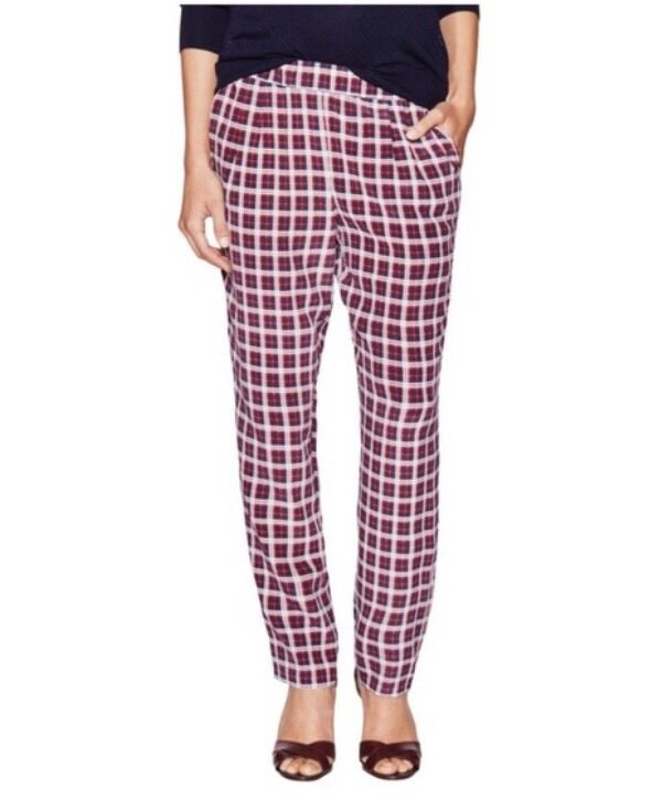 Equipment Red, White, bluee Plaid Silk Pants Size XS