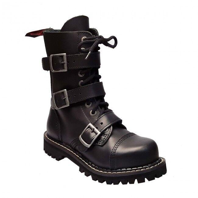 Angry Itch 10 fori 3-Buckle Gothic Punk Army Ranger Stivali Stivali Stivali Di Pelle FIBBIE - - METAL d3b43d