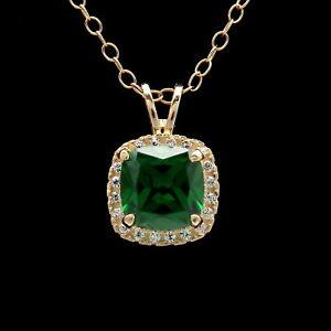 1-5CT-Cushion-Green-Emerald-Halo-Created-Diamond-Pendant-Solid-14k-Yellow-Gold