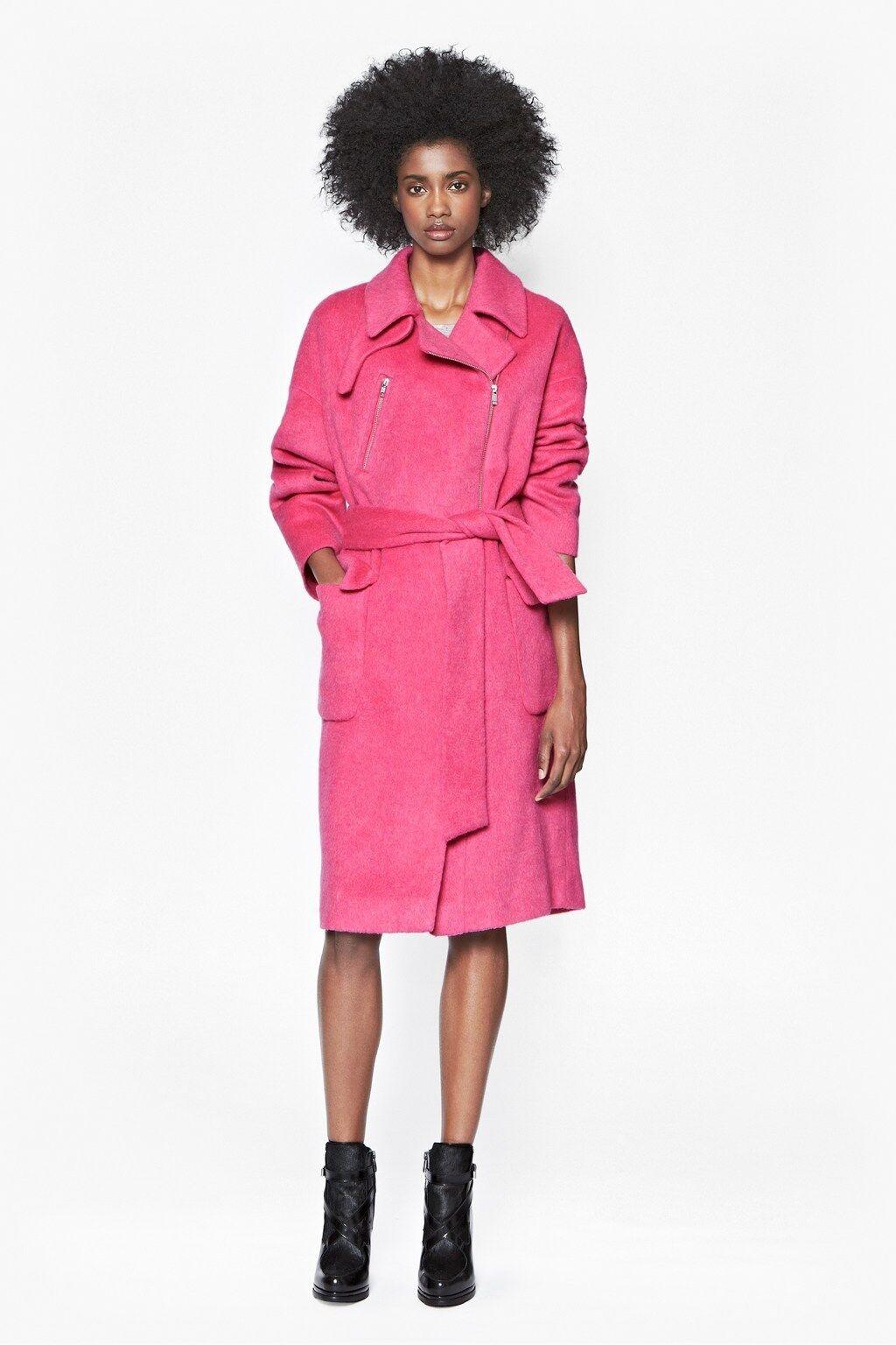 French Connection Pink Emma pink Wool Coat (Mantel), 12 40, FCUK, zipper + belt