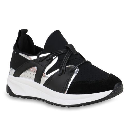 Damen Plateau Sneaker Lack Metallic Sportliche Freizeit Schuhe 821673 Trendy