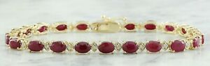 12.08 Carat Natural Ruby and Diamond 14K Yellow Gold Luxury Tennis Bracelet