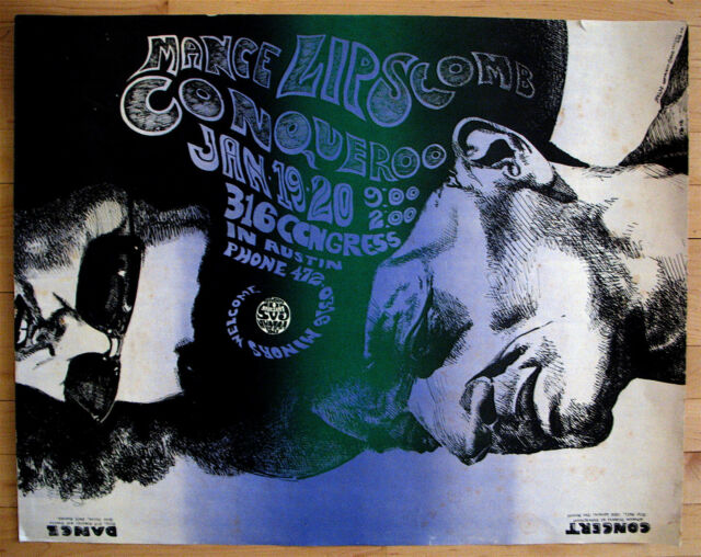 MANCE LIPSCOMB-RARE 1968 VULCAN GAS COMPANY CONCERT POSTER-PSYCHEDELIC ROCK