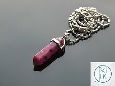 Fuchsia Sesame Jasper Crystal Point Pendant Natural Gemstone Necklace Healing