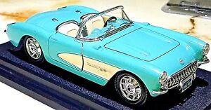 Bburago-1957-Chevy-Corvette-Convertible-Light-Blue-w-White-1-24-Scale-Diecast