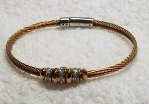 Fossil-Women-039-s-Gold-Tone-Steel-cable-Bracelet-with-charms