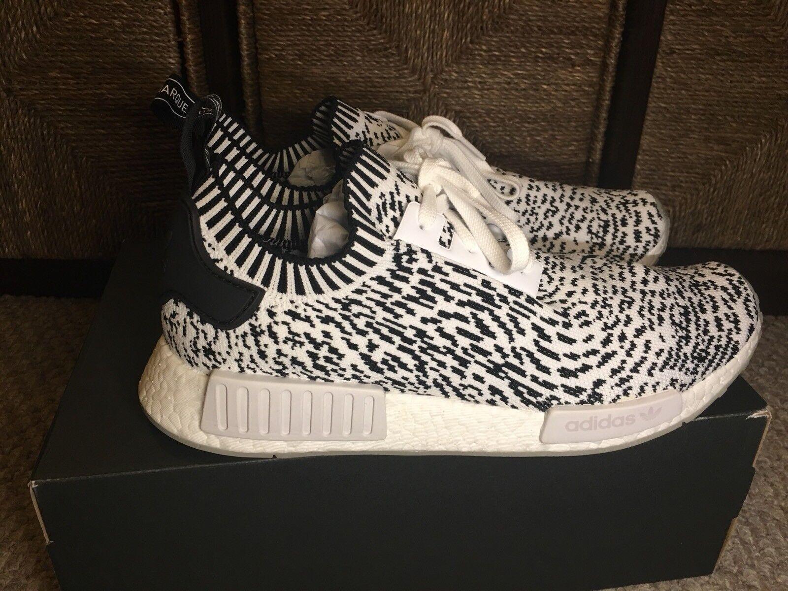 Adidas NMD R1 Primeknit Zebra Mens BZ0219 White Black Running Shoes Size 12