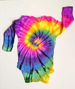 *New* Handmade Rainbow Tie Dye Long Sleeve Onesie Newborn-18 Month 30 Years Exp!