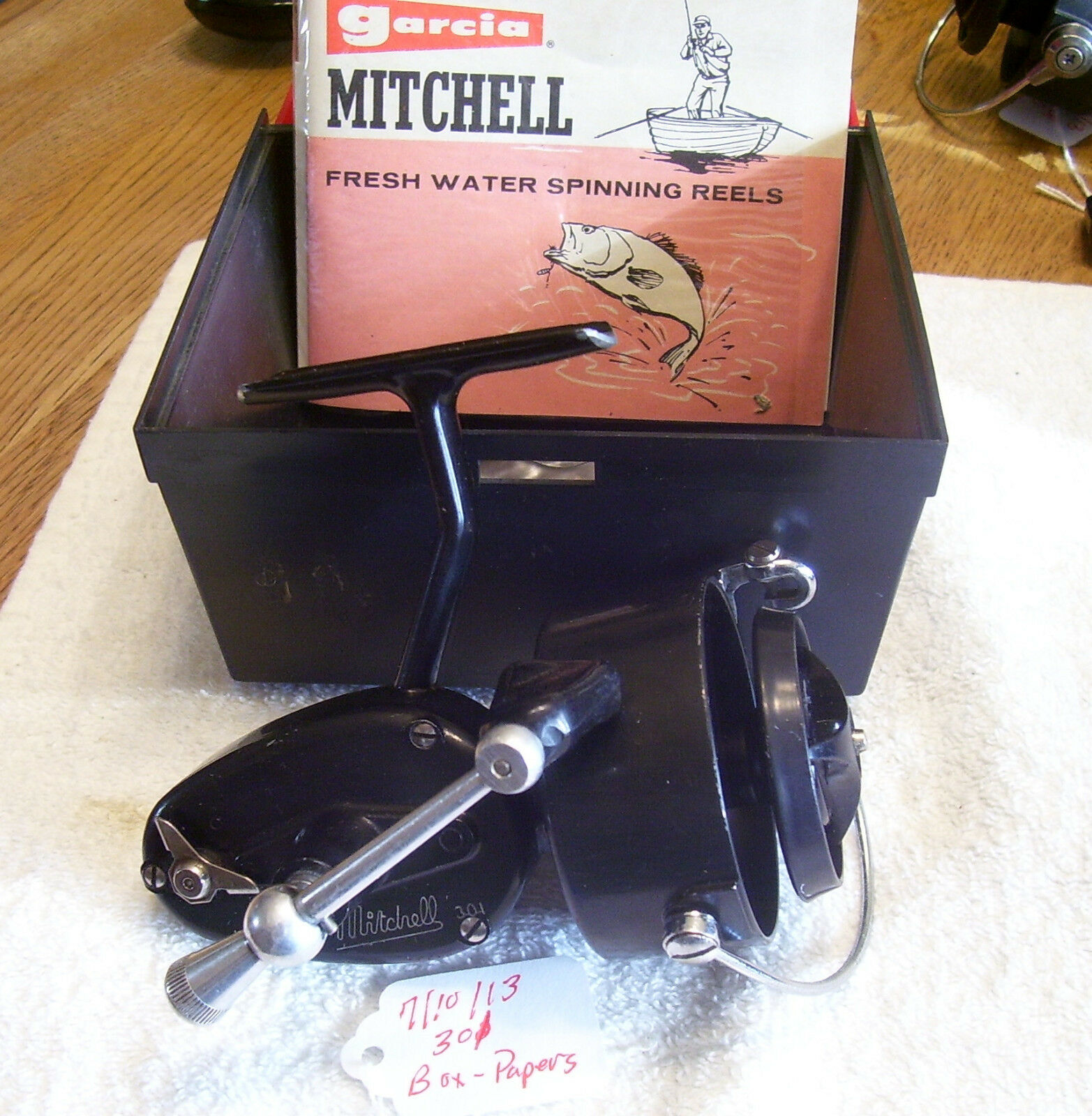 MITCHELL 301 PLUS BOX, PAPERS  REEL   7 10 13  NICE  SEE ALL PICS