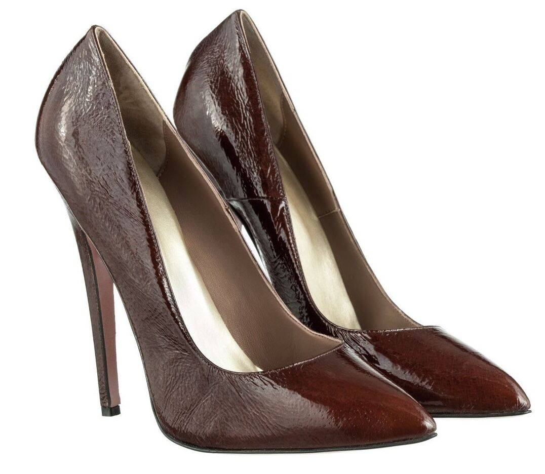 Descuento barato MORI MADE IN ITALY SKY HIGHEST HEELS PUMPS SCHUHE SUEDE LEATHER BROWN MARRONE 45