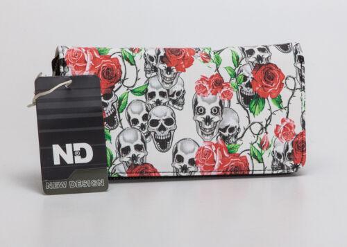 Totenköpfen und Rosen mit Reißverschluss Geldbörse mit Totenkopf