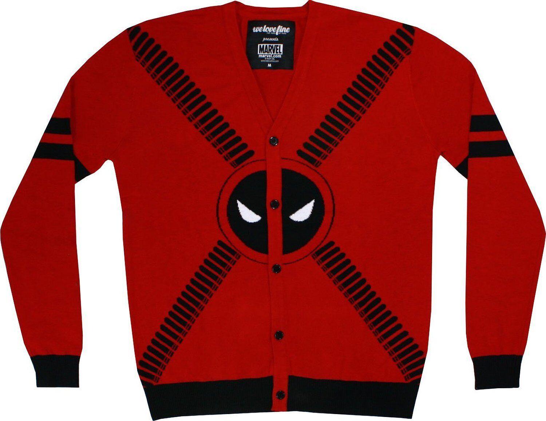 Marvel Deadpool Strap Logo Cardigan Sweater | S