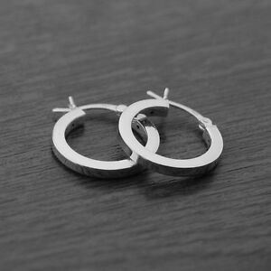 Image Is Loading Genuine 925 Sterling Silver Square Creole Hoop Earrings