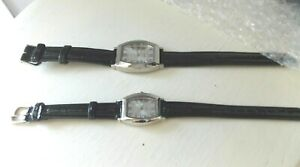 NEW His and Hers Matching Quartz Watches- Stainless Steel Back- Croc Patent band