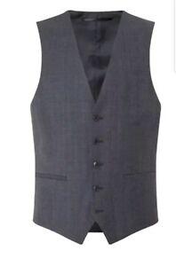 Beliebte Marke Cl7# Kenneth Cole Metropolitan Slim Fit Windowpane Waistcoat Grey Size Uk 46r Eine Lange Historische Stellung Haben Kleidung & Accessoires Anzüge