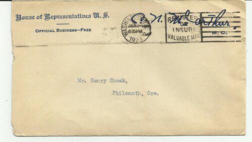 CLIFTON N. McARTHUR HOUSE OF REPRESENTATIVES AUTOGRAPHED ENVELOPE 1/24/1923