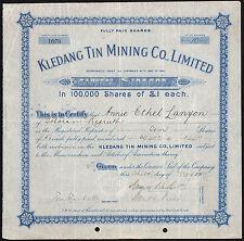 Malaya: Kledang Tin Mining Co. Ltd., pair of certificates, 10/- and £1 shares