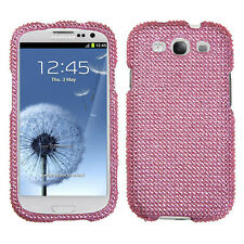 SAMSUNG GALAXY S3 i9300 i747/L710 RHINESTONE SNAP ON CASE SOLID PINK
