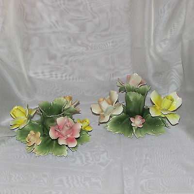 CAPODIMONTE CANDLE HOLDERS FIGURINE PINK YELLOW ROSES HAND MADE ITALY vintage