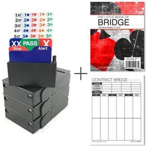 Jannersten Bid Buddy Bridge Bidding Boxes with Cards Set of 4 - Black FREE S&H