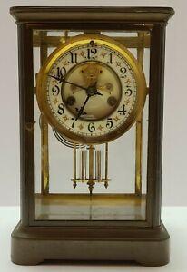 Antique Working 1898 WATERBURY Brass Open Escapement Crystal Regulator Clock