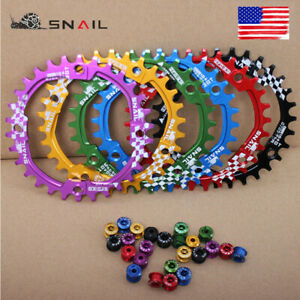 US-Single-30T-Round-6-Colors-Narrow-Wide-Chainring-104bcd-MTB-Road-Bike-bolts