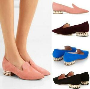Womens-pearl-pointed-toe-low-heel-shoes-slip-on-loafers-wedding-velvet-leather