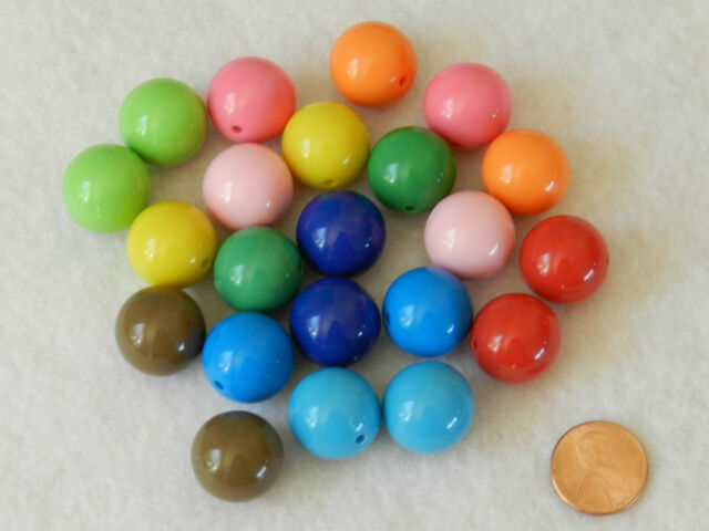 Mixed Solid Colors 20mm Chunky Beads Bubblegum Necklaces