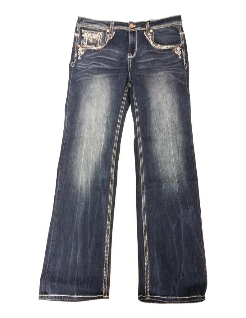 Grace in LA Denim Jeans Womens Straight Plus Medium Wash PS61162