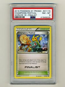 POKEMON-PSA-8-NM-MINT-2016-CHAMPIONS-FESTIVAL-FINALIST-STAMP-WORLD-CARD-PIKACHU