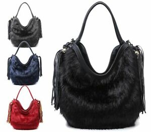 LADIES SLOUCH FAUX FUR GRAB BAG WINTER TOP HANDLE TASSEL HANDBAG SHOULDER BAG