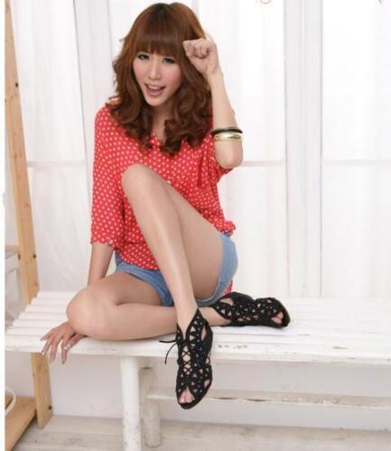 Sandali stivali estivi perforati donna disponibili 3 colori 8177  tacco 3.3 cm