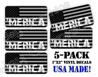 5pack /'MERICA Black Ops American Flag Hard Hat Decals Helmet Stickers Tactical