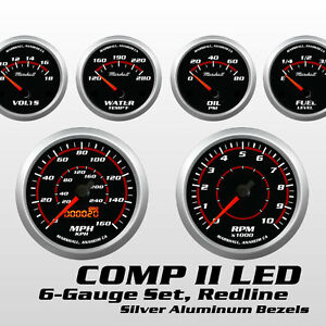 C2-Redline-6-Gauge-Set-Silver-Bezels-0-90-Ohm-Fuel-Level-Electric-Speedo