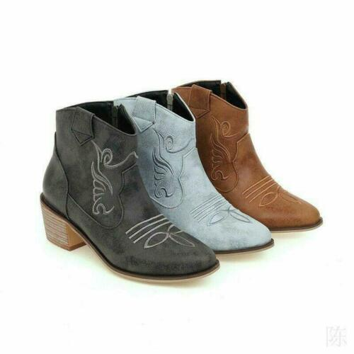 Details about  /Womens Boots Mid Chunky Heel Retro Side Zip Ankle Booties Shoes Oversize Punk