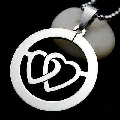 Stainless Steel Silver Tone Round Heart Love Symbol Charm Pendant Necklace 60CM
