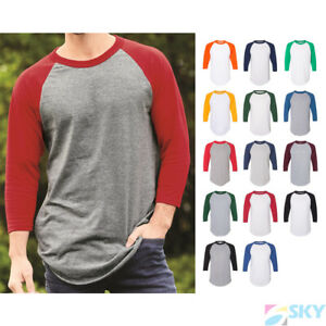 New 3//4 Sleeve Raglan Baseball Mens Plain Tee Jersey Sport T-Shirt Black Red 2XL