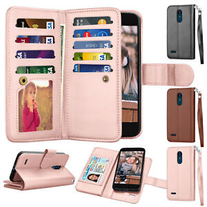 premium selection f81e2 ed58b Details about For LG Aristo 2 Plus /Aristo 3 /Rebel 4 LTE /Phoenix 4  Leather Wallet Case Cover