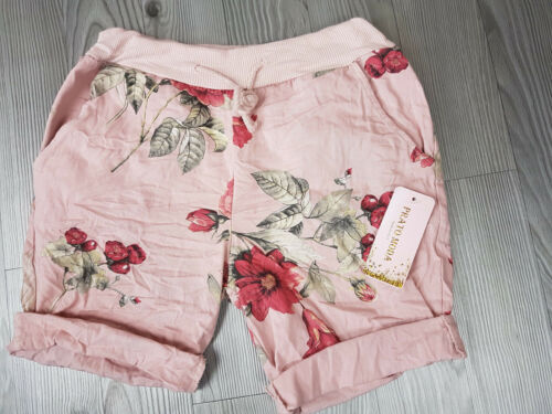 Shorts Blumendruck Baumwollshorts Bermudas Pants 3 Farben Onesize Gr.36-40//42