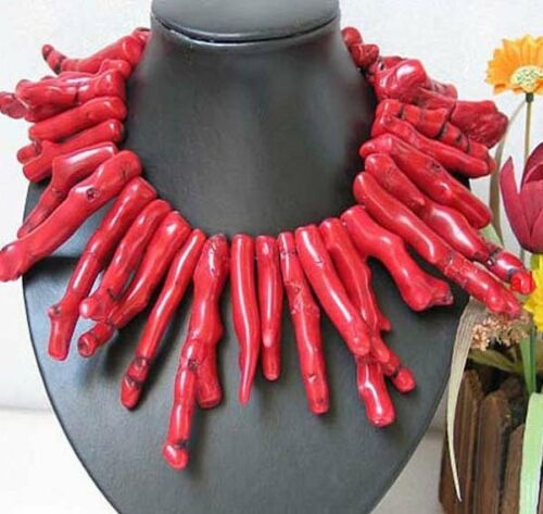 Beau chanceux,rouge corail withe,collier 45cm