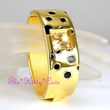 Retro Polka OMAX Gold Pltd Seiko Movt Waterproof Bangle Cuff Swiss Watch BAE016
