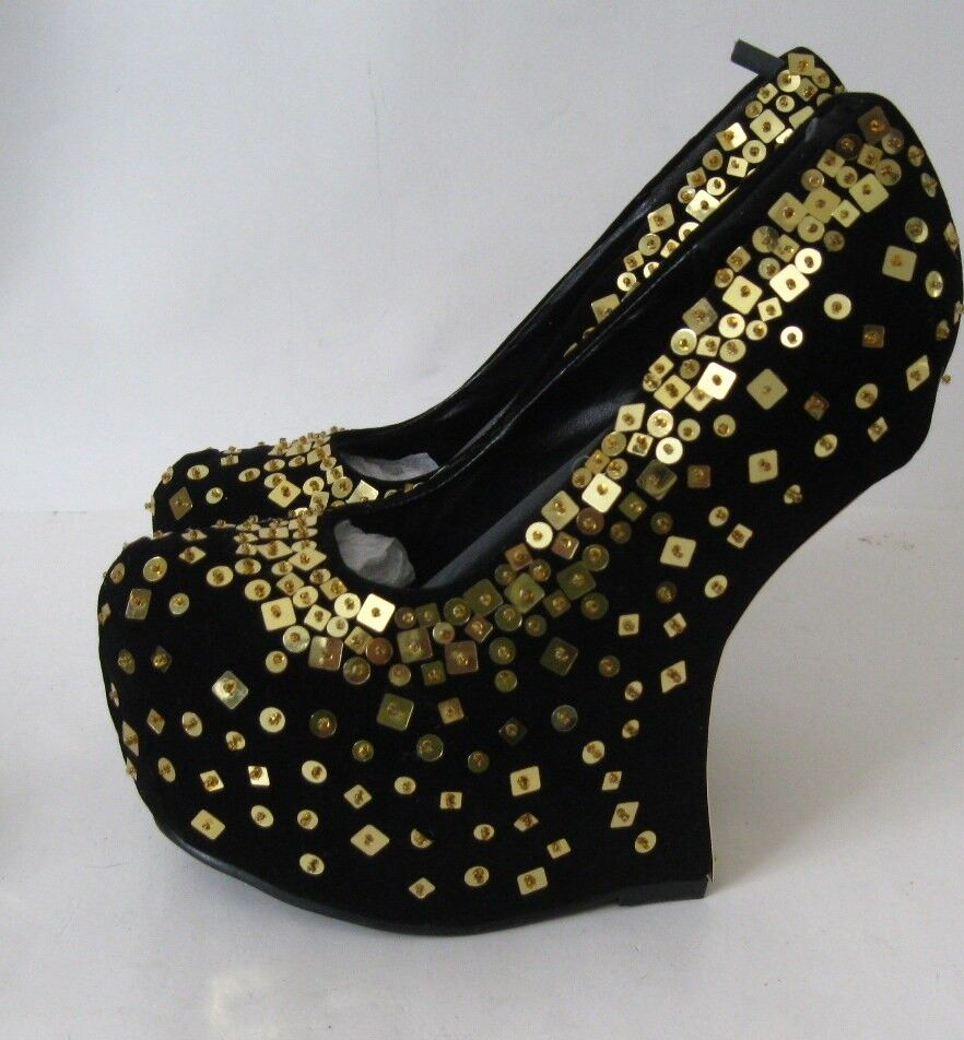 Black gold Sequin Work 6.5  High Wedges Heel 2  Platform Sexy shoes Size 6