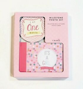 "C.R. Gibson Baby Milestone Photo Set Album & Monthly Stickers ""It's A Girl"" Pink"