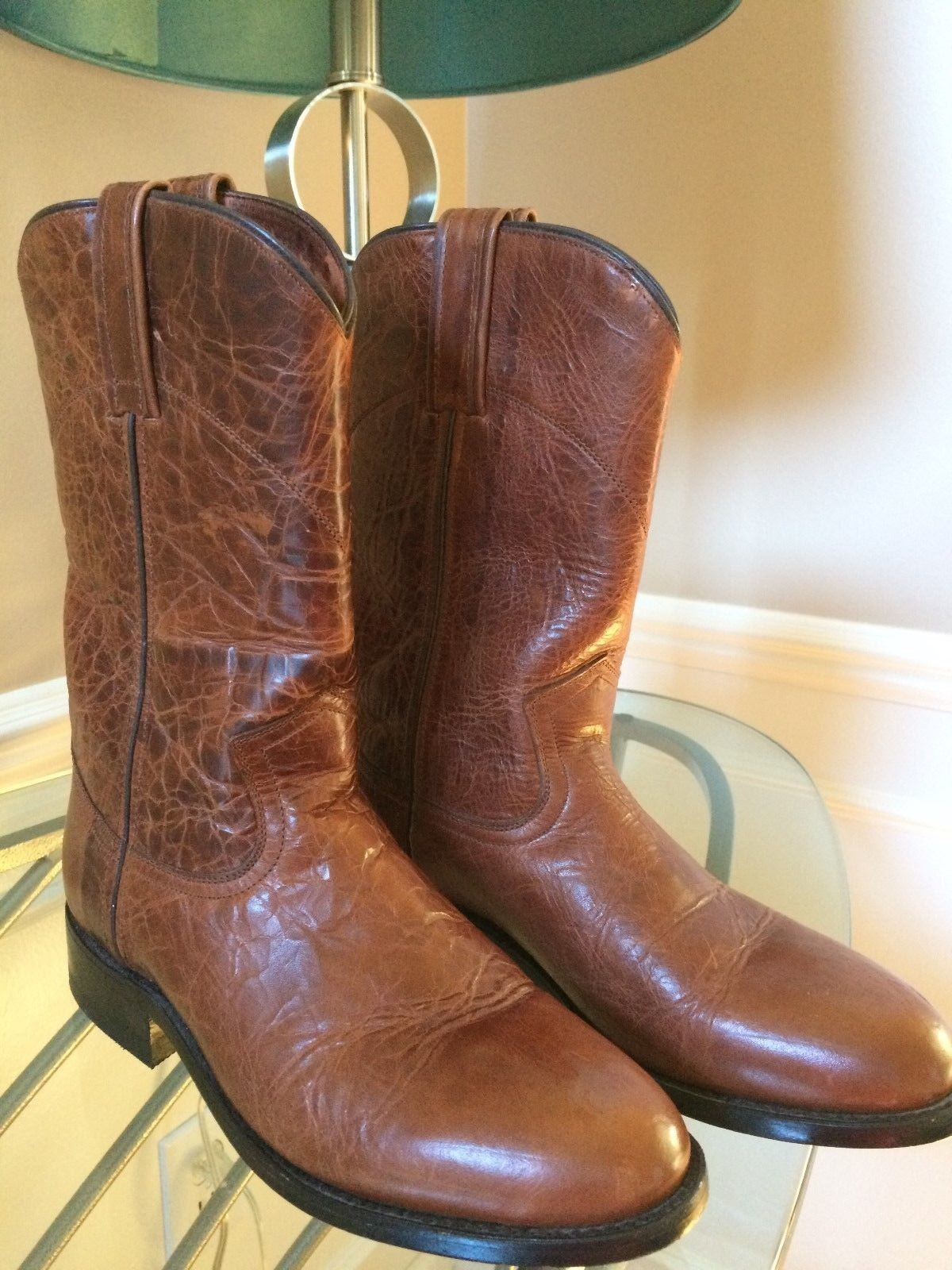 CABORCA Western Rodeo Roper Boots Distressed Brown Leather MEX-25 US-M 7 W 8.5