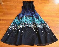 $2,495 Lela Rose Floral Applique Black Blue Embroidered Fit & Flare Dress US 0