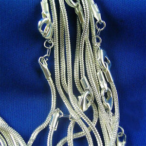 20X-Silver-plated-Snake-Chain-charm-Necklace-selectable-41cm-76cm-Xmas