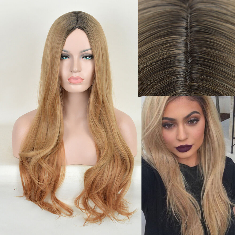 Kylie Jenner Styling wig Long Straight Blonde Ombre Black Root Hair Full  Wigs
