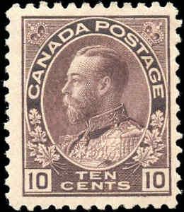 Mint-H-Canada-F-Scott-116-10c-1912-KGV-Admiral-Stamp
