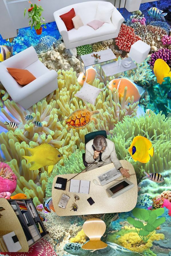3D Piedra peces Piso impresión de parojo de papel pintado mural 45535 Calcomanía 5D AJ Wallpaper